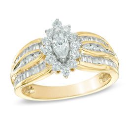 1 CT. T.W. Marquise Diamond Frame Engagement Ring in 10K Gold