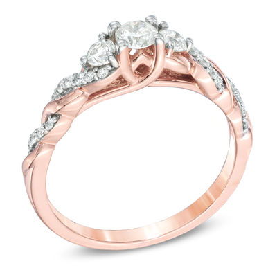 1 2 Ct T W Diamond Past Present Future Twist Engagement Ring In 14k Rose Gold Zales