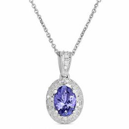Oval Tanzanite and Diamond Accent Frame Pendant in Sterling Silver