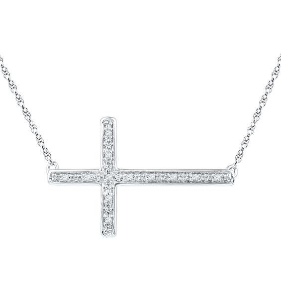 Diamond Accent Sideways Cross Necklace In Sterling Silver Diamond Necklaces Necklaces Zales