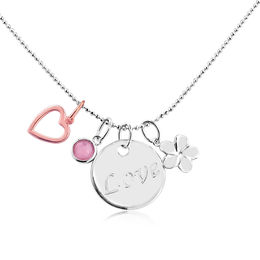 Love Inspired Charm Pendant in Two-Tone Sterling Silver
