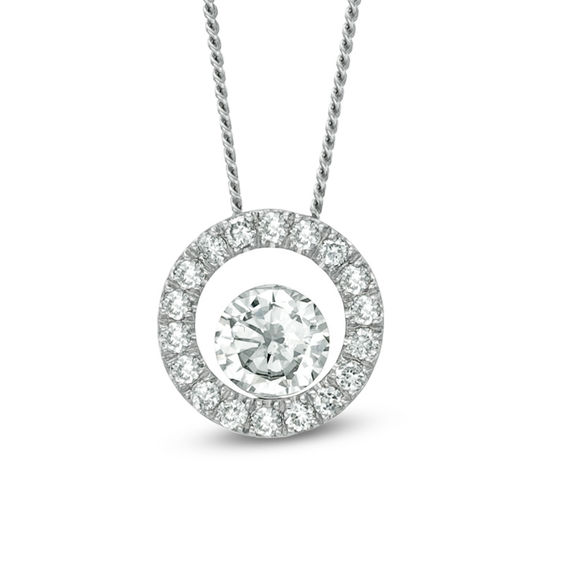 1/4 CT. T.w. Certified Canadian Diamond Circle Pendant in 14K Whi