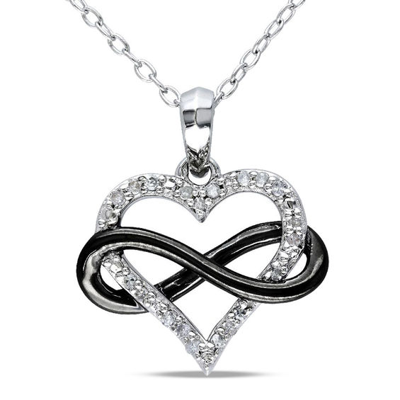 1/10 CT. T.w. Diamond Sideways Infinity with Heart Pendant in Two