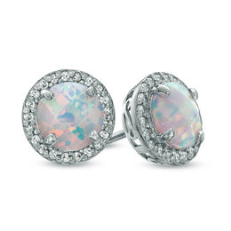 7.0mm Lab-Created Opal and White Sapphire Frame Stud Earrings in Sterling Silver