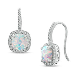 7.0mm Cushion-Cut Lab-Created Opal and White Sapphire Frame Drop Earrings in Sterling Silver