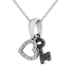 Diamond Accent Beaded Heart and Key Pendant in Sterling Silver with Black Rhodium