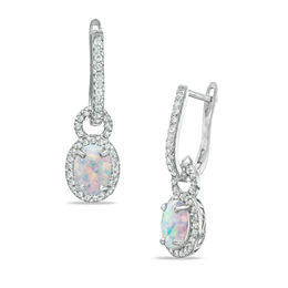 Oval Lab-Created Opal and White Sapphire Frame Drop Earrings in Sterling Silver