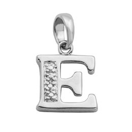"Diamond Accent Letter ""E"" Charm in Sterling Silver"