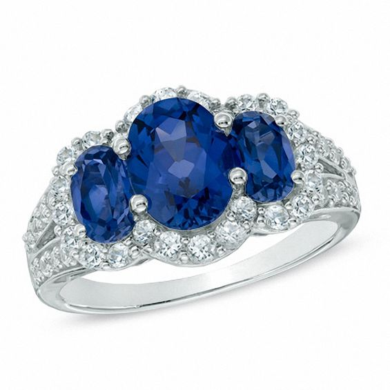 Zales Oval Lab-Created Blue Sapphire and White Sapphire Three Stone Ring in Sterling Silver