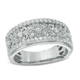 1/2 CT. T.W. Diamond Vintage-Style Ring in 14K White Gold
