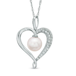 7.5 - 8.0mm Cultured Freshwater Pearl and Lab-Created White Sapphire  Heart Pendant in Sterling Silver