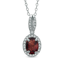 Oval Garnet and Lab-Created White Sapphire Pendant in Sterling Silver