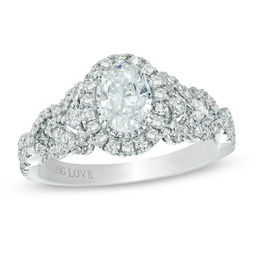 Vera Wang Love Collection 1 CT. T.W. Oval Diamond Frame Engagement Ring in 14K White Gold