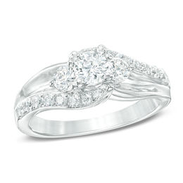 1 CT. T.W. Diamond Three Stone Swirl Engagement Ring in 14K White Gold