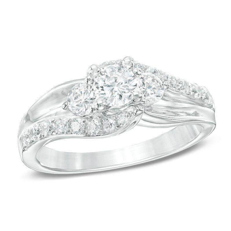 tw diamond three stone swirl engagement ring in 14k white gold - Three Stone Wedding Rings