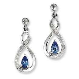 Pear-Shaped Tanzanite and Diamond Accent Drop Earrings in Sterling Silver