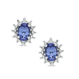 Oval Tanzanite and Diamond Accent Earrings in 10K White Gold