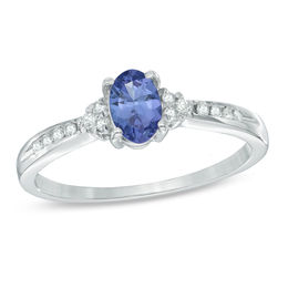 Oval Tanzanite and 1/10 CT. T.W. Diamond Frame Engagement Ring in 14K White Gold