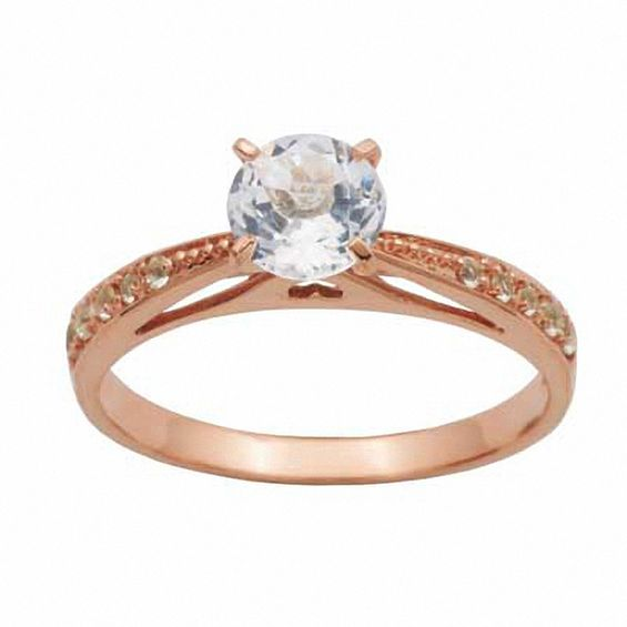 6 0mm White Topaz Engagement Engagement Ring in 10K Rose Gold