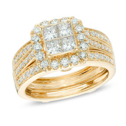 1-1/2 CT. T.W. Quad Princess-Cut Diamond Frame Bridal Set in 14K Gold