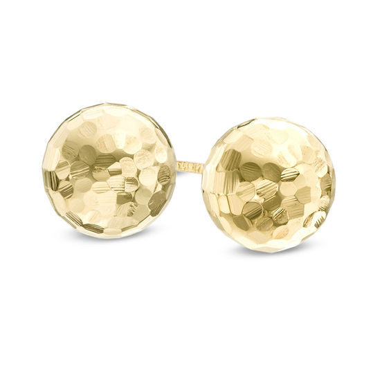Zales 8.0mm Hammered Ball Stud Earrings in 14K Gold kM4A8IP