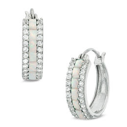 Baguette Lab-Created Opal and White Sapphire Hoop Earrings in Sterling Silver