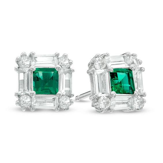 Princess Cut Lab Created Emerald And White Sapphire Art