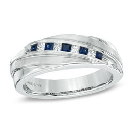 Vera Wang Love Collection Men's Square-Cut Blue Sapphire and 1/6 CT. T.W. Diamond Slant Band in 14K White Gold