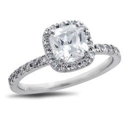 1-1/4 CT. T.W. Certified Cushion-Cut Diamond Frame Engagement Ring in Platinum (H/SI2)