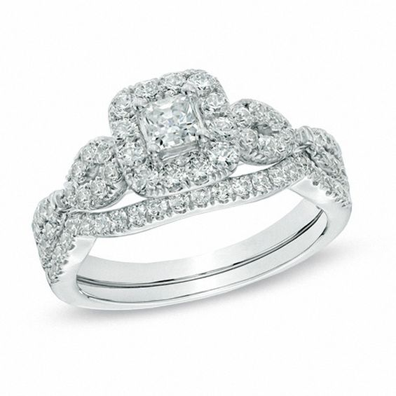 1 CT T W Princess Cut Diamond Frame Twist Bridal Set in 14K White Gold