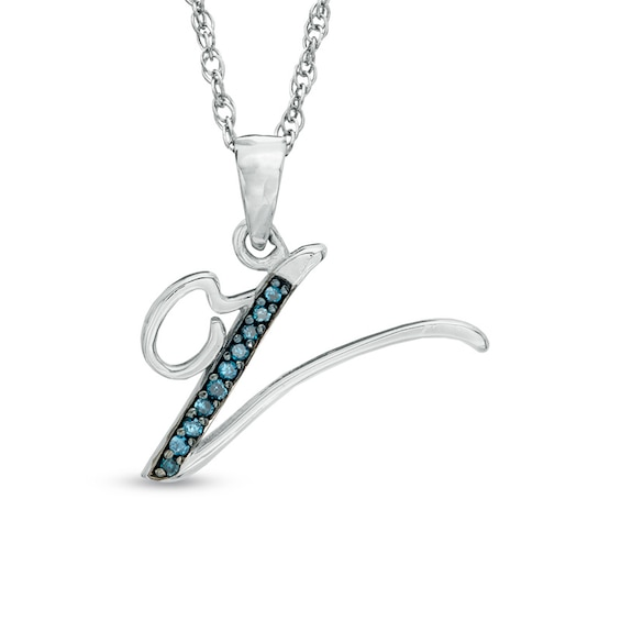 "Enhanced Blue Diamond Accent ""V"" Initial Pendant in Sterling Silv"