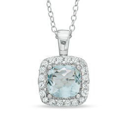 7.0mm Cushion-Cut Lab-Created Blue Spinel and White Sapphire Frame Pendant in Sterling Silver