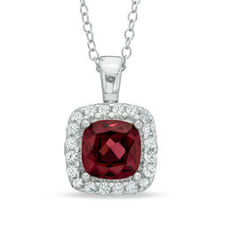 7.0mm Cushion-Cut Garnet and Lab-Created White Sapphire Frame Pendant in Sterling Silver