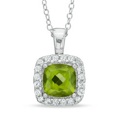 7.0mm Cushion-Cut Peridot and Lab-Created White Sapphire Frame Pendant in Sterling Silver