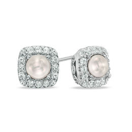 4.5 - 5.0mm Cultured Freshwater Pearl and Lab-Created White Sapphire Frame Stud Earrings in Sterling Silver