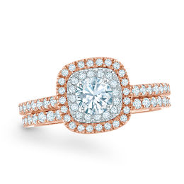 1 CT. T.W. Diamond Double Frame Bridal Set in 14K Rose Gold