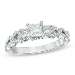 1 CT. T.W. Certified Princess-Cut Diamond Past Present Future® Twist Ring in 14K White Gold (I/I1)