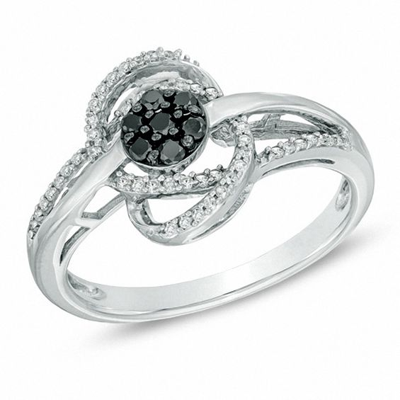 Zales 1/4 CT. T.w. Enhanced Black and White Diamond Cluster Orbit Ring in Sterling Silver - Size 7 p32MPceu0