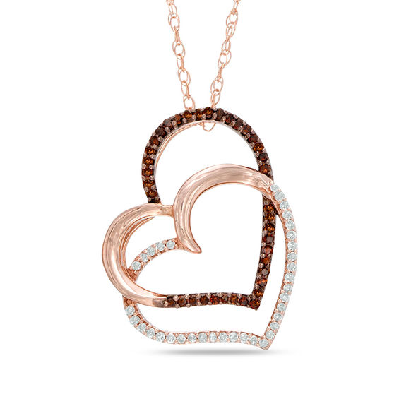 Zales Double Heart Necklace: 1/6 CT. T.W. Enhanced Cognac And White Diamond Tilted