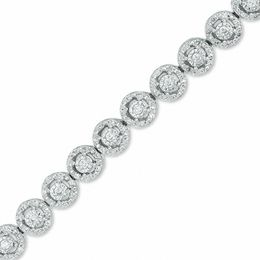 1 CT. T.W. Diamond Frame Line Bracelet in 10K White Gold