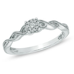 Cherished Promise Collection™ 1/20 CT. T.W. Diamond Cluster Twist Shank Ring in Sterling Silver - Size 6