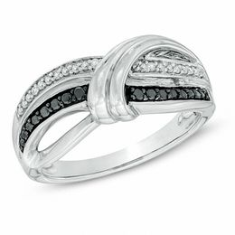 1/10 CT. T.W. Enhanced Black and White Diamond Overlay Ring in Sterling Silver - Size 7