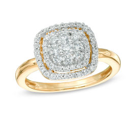 1/2 CT. T.W. Diamond Cluster Frame Ring in 10K Gold