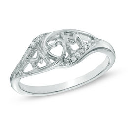 "Diamond Accent ""MOM"" Ring in Sterling Silver"