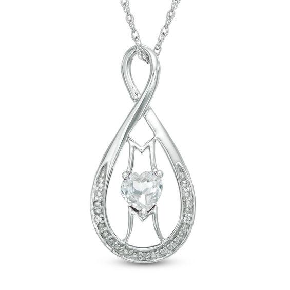Zales Diamond Accent Mom Infinity Heart Pendant in Sterling Silver lI1dxtZHX