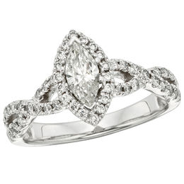 1 CT. T.W. Certified Marquise Diamond Frame Twist Shank Engagement Ring in 14K White Gold (I/I1)