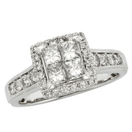 1 CT. T.W. Certified Quad Princess-Cut Diamond Frame Engagement Ring in 14K White Gold (I/I2)