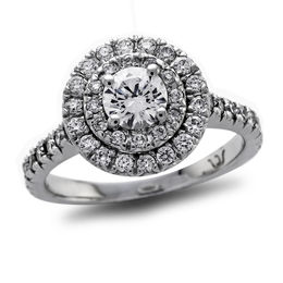 1-1/4 CT. T.W. Certified Diamond Double Frame Engagement Ring in Platinum (H/SI2)