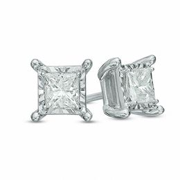 1/2 CT. T.W. Princess-Cut Diamond Solitaire Stud Earrings in 10K White Gold