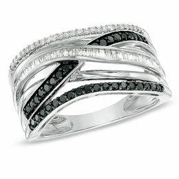 1/2 CT. T.W. Enhanced Black and White Diamond Layered Stack Ring in Sterling Silver - Size 7